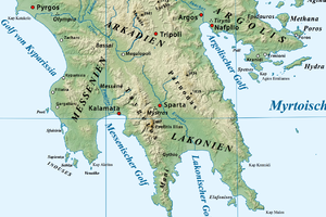Parnon - Location of Parnon to the east of the Eurotas Valley