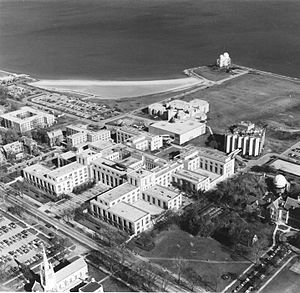 Northwestern University Lakefill - The Technological Institute in 1977, after the construction of the Lakefill. Lindheimer Observatory is at top.