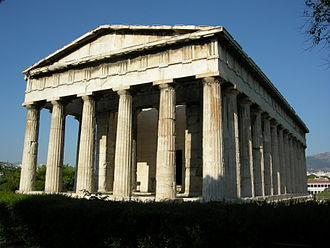 Temple - Temple of Hephaestus, a Doric Greek temple in Athens with the original entrance facing east, 449 BC (western face depicted).