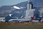 Templehoff West Air Berlin A-300 Lufthansa Airbus A-380 take-off SFO runway 28 (30137001914).jpg