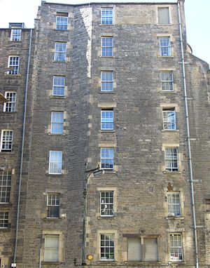 Tenement - Rear view of an early 19th-century Scottish tenement, Edinburgh