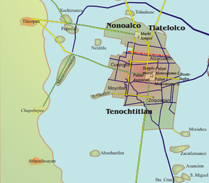 Tacubaya - Map showing the location of Tacubaya from Tenochtitlan or the historic center of Mexico City