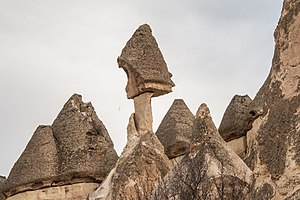Hoodoo (geology) - Tent rocks  (earth pyramids, fairy chimneys) near Çavuşin, Cappadocia