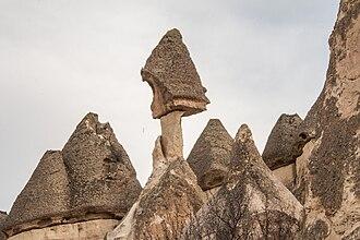 Hoodoo (geology) - Tent rocks (peribacası) near Çavuşin, Cappadocia
