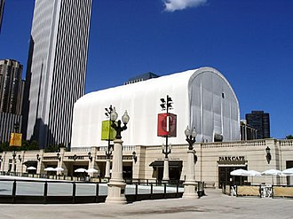 Cloud Gate - A tent was erected to cover Cloud Gate while it was being polished in 2004 and 2005.