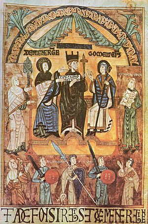 Alfonso III of Asturias - Miniature from  the archives of Oviedo Cathedral  showing Alfonso III flanked by his queen, Jimena (left), and  his bishop, Gomelo II  (right).