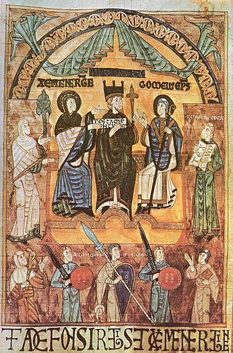 Alfonso III of Asturias - Miniature (c. 1118) from  the archives of Oviedo Cathedral  showing Alfonso III flanked by his queen, Jimena (left), and  his bishop, Gomelo II  (right).