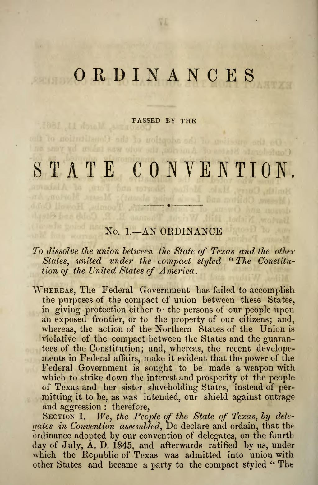 the constitution the source of secession South carolina was the first state to secede from the union before the  its  independence and delete part of the state constitution that says it is.