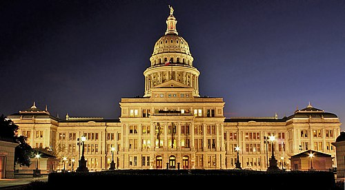 The Texas State Capitol at night. - Texas