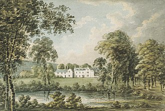 "The Grange, Broadhembury - ""Grange, seat of Francis Rose Drewe Esq."" Watercolour of The Grange, Broadhembury, west front, by Rev. John Swete (d.1821) of Oxton House, Kenton, Devon, made during his visit there in June 1800. Devon Record Office 564M/F17/61"
