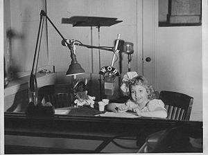 Robin Morgan - Morgan in WOR radio studio at The Robin Morgan Show in 1946