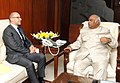 The Ambassador of France to India, Mr. Francois Richier meeting the Union Minister for Labour and Employment, Shri Mallikarjun Kharge, in New Delhi on December 23, 2011.jpg