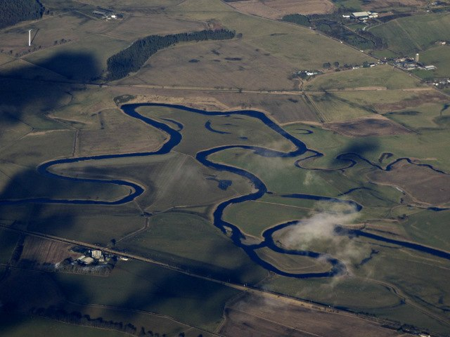 The Carstairs meanders from the air (geograph 5676421)
