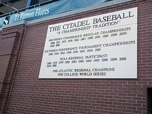 The Citadel Bulldogs baseball - Plaque honoring The Citadel's baseball tradition at Joseph P. Riley, Jr. Park