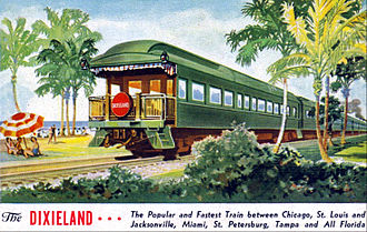 New York, Chicago and St. Louis Railroad - Postcard advertisement for the Nickel Plate's Dixieland passenger train