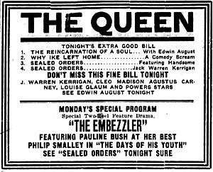 The Embezzler (1914 film) - Newspaper advertisement.