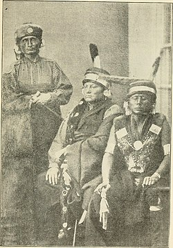 Three prominent Kaw chiefs: (left to right) Al-le-ga-wa-ho, Kah-he-ga-wa-ti-an-gah, and Wah-ti-an-gah. Photograph taken in Washington D.C., 1867.