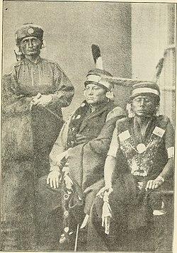 Tre prominente Kaw capi: (da sinistra a destra) Al-le-ga-wa-ho, Kah-he-ga-wa-ti-un-gah, e Wah-ti-an-gah.  Fotografia scattata a Washington DC, 1867.