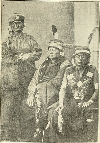 Kaw people - Three prominent Kaw chiefs: (left to right) Al-le-ga-wa-ho, Kah-he-ga-wa-ti-an-gah, and Wah-ti-an-gah. Photograph taken in Washington D.C., 1867.