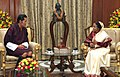 The King of Bhutan, His Majesty Jigme Khesar Namgyel Wangchuck meeting the President, Smt. Pratibha Devisingh Patil, at Rashtrapati Bhavan, in New Delhi on October 24, 2011.jpg