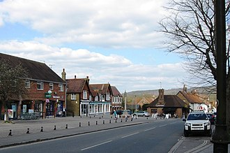 Wendover - The market place in Wendover, with the Chiltern escarpment and Wendover Woods beyond