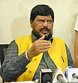 The Minister of State for Social Justice & Empowerment, Shri Ramdas Athawale addressing a press conference, in Kolkata on April 25, 2017.jpg