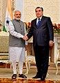 The Prime Minister, Shri Narendra Modi's tete-a-tete with the President of Tajikistan, Mr. Emomali Rahmon, in Dushanbe, Tajikistan on July 13, 2015.jpg