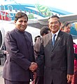 The Prime Minister of the Kingdom of Cambodia, Mr. Samdech Hun Sen being received by the Minister of State for Communications and Information Technology, Dr. Shakeel Ahmad, on his arrival, in New Delhi on December 07, 2007.jpg