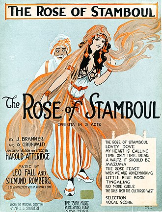 J. C. Huffman - Sheet music cover for The Rose of Stamboul (1922)