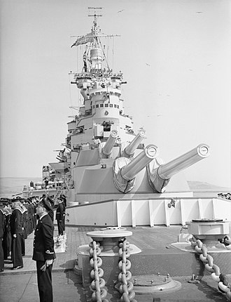 BL 15-inch Mk I naval gun - Forward BL 15-inch Mark I (N) mounts of the battlecruiser HMS Renown c. 1945