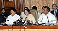 The Union Minister for Railways, Kumari Mamata Banerjee interacting with the media persons after presentation of Railway Budget 2011-12, in New Delhi on February 25, 2011 (1).jpg