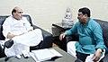 The Union Minister for Tribal Affairs, Shri Jual Oram calling on the Union Home Minister Shri Rajnath Singh, in New Delhi on August 26, 2015.jpg