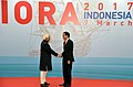 The Vice President, Shri M. Hamid Ansari being received by the President of Indonesia, Mr. Joko Widodo, at the opening ceremony of the 20th Indian Ocean Rim Association Leaders' Summit, in Jakarta, Indonesia.jpg