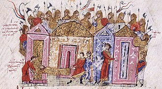 Harald Hardrada - Near-contemporary depiction of Byzantine Varangian Guardsmen, in an illumination from the Skylitzes Chronicle.