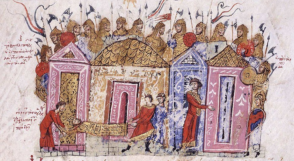 The body of Leo V is dragged to the Hippodrome through the Skyla Gate