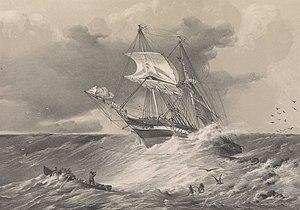 HMS Sappho (1837) - HMS Sappho being saved off the coast of Honduras, 11 December 1849