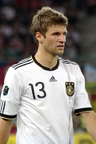 """Thomas Müller - Thomas Müller wears number 13 for Germany, a number famously worn by German legend Gerd Müller who said of his namesake; """"he's going to be a great player""""."""
