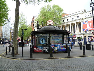 Box office - Ticket sales booth, Charing Cross Road, London, England, United Kingdom opposite the Garrick Theatre