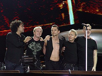 Touring the Angel - The group following a performance at the O2 Wireless Festival in London in June 2006. l-r: Peter Gordeno, Christian Eigner, Dave Gahan, Martin Gore, Andrew Fletcher