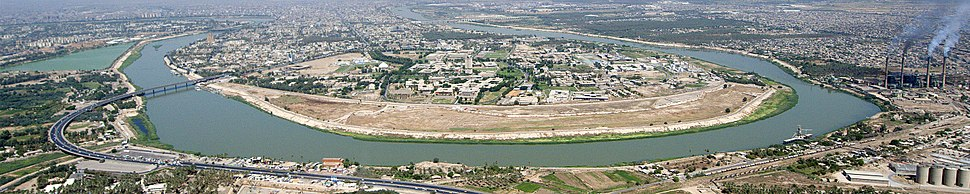 Panoramic view of the Tigris as it flows through Baghdad