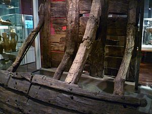 Museum of London - Part of a 13th-century timber wall from the Thames riverbank at Billingsgate, excavated in 1982 and now displayed in the Museum.