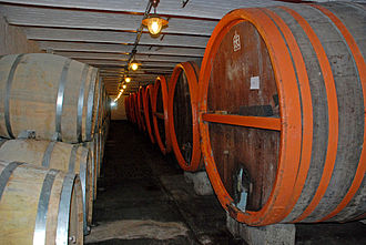 Timmermans Brewery - Barrels of fermenting beer at Timmermans