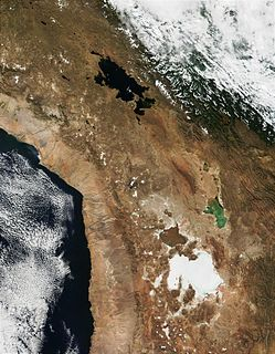 former lake in Bolivia, parts of it extended into Chile
