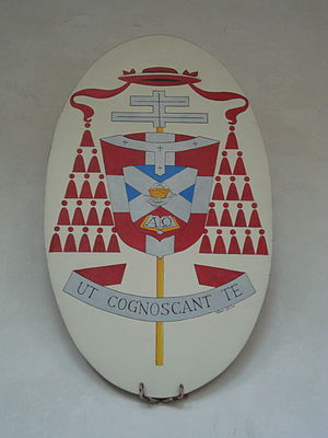 "Adrianus Johannes Simonis - Arms of Cardinal Simonis at the Basilica di San Clemente with the motto ""Ut cognoscant te"""