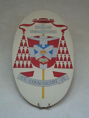 "Adrianus Johannes Simonis - Arms of Cardinal Simonis at the Basilica di San Clemente with the motto ""Ut cognoscant te"""