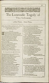 <i>Titus Andronicus</i> play by Shakespeare