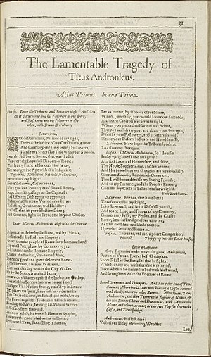 Titus Andronicus - First page of The Lamentable Tragedy of Titus Andronicus from the First Folio, published in 1623