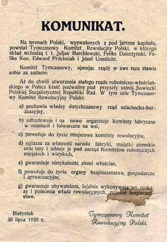 Provisional Polish Revolutionary Committee - Proclamation of Polrewkom, 30 of July 1920