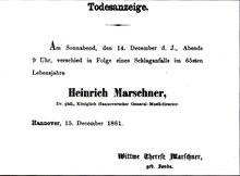 Todesanzeige für Marschner 1861 (Quelle: Wikimedia)