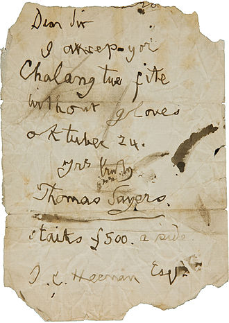 Tom Sayers - Sayers's 1859 letter accepting Heenan's challenge